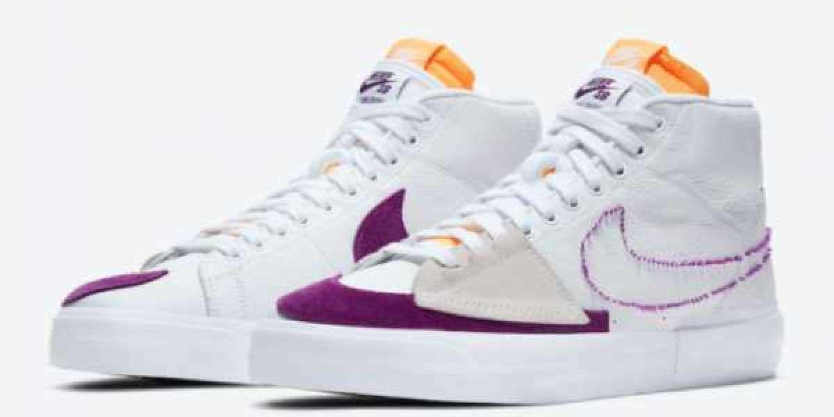 Nike SB Blazer Mid Edge White/Purple-Gold DA2189-100 2021 New Arrival